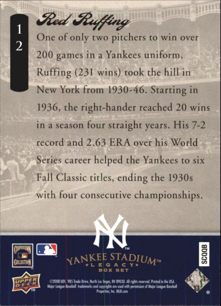 2008 Upper Deck Yankee Stadium Legacy Collection Box Set #12 Red Ruffing