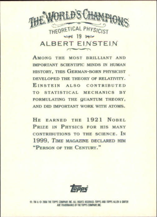 2008 Topps Allen and Ginter #19 Albert Einstein back image