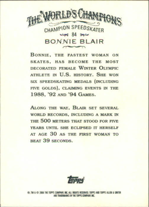 2008 Topps Allen and Ginter #84 Bonnie Blair back image