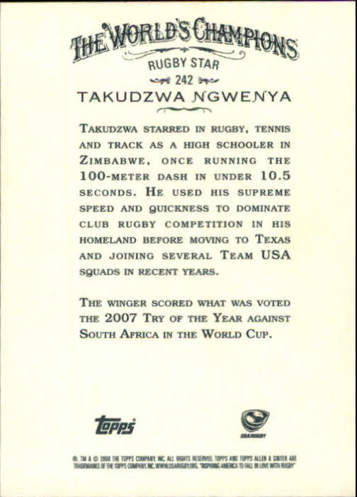 2008 Topps Allen and Ginter #242 Takudzwa Ngwenya back image