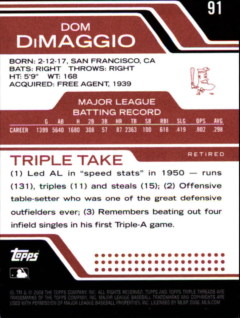 2008 Topps Triple Threads #91 Dom DiMaggio back image