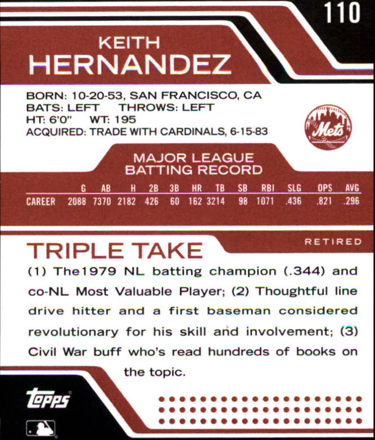 2008 Topps Triple Threads #110 Keith Hernandez back image