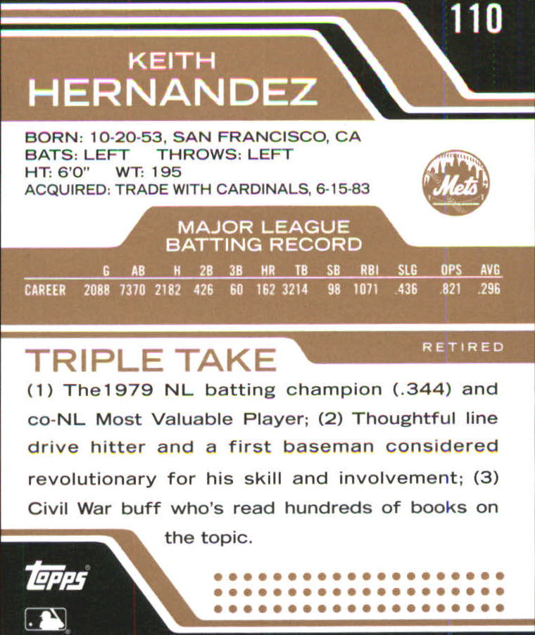 2008 Topps Triple Threads Sepia #110 Keith Hernandez back image