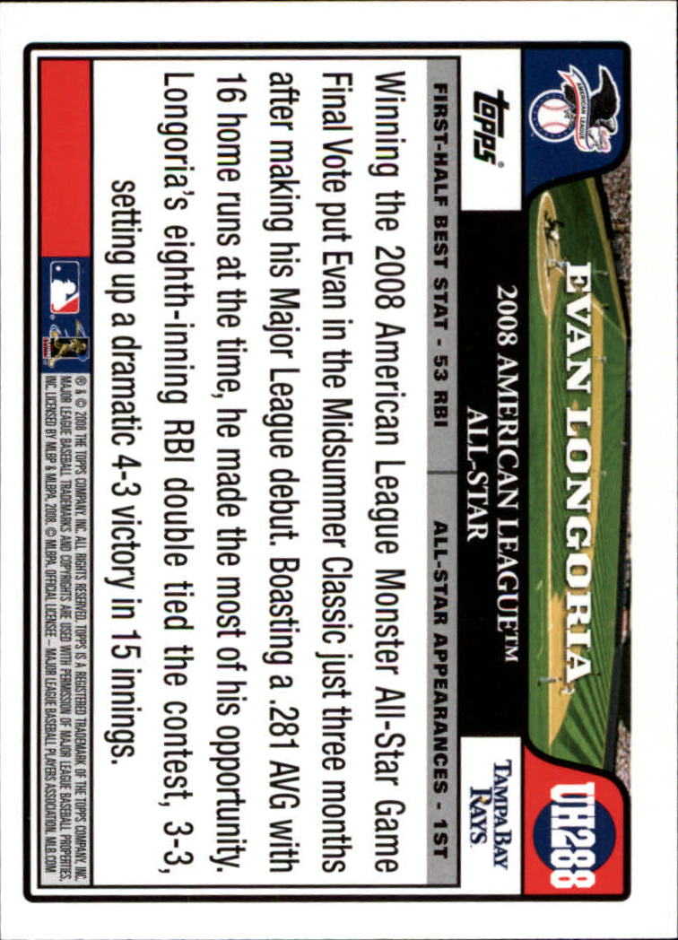 2008 Topps Update #UH288 Evan Longoria AS back image