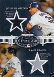 2008 Topps Update All-Star Stitches Dual #HB Josh Hamilton/Ryan Braun