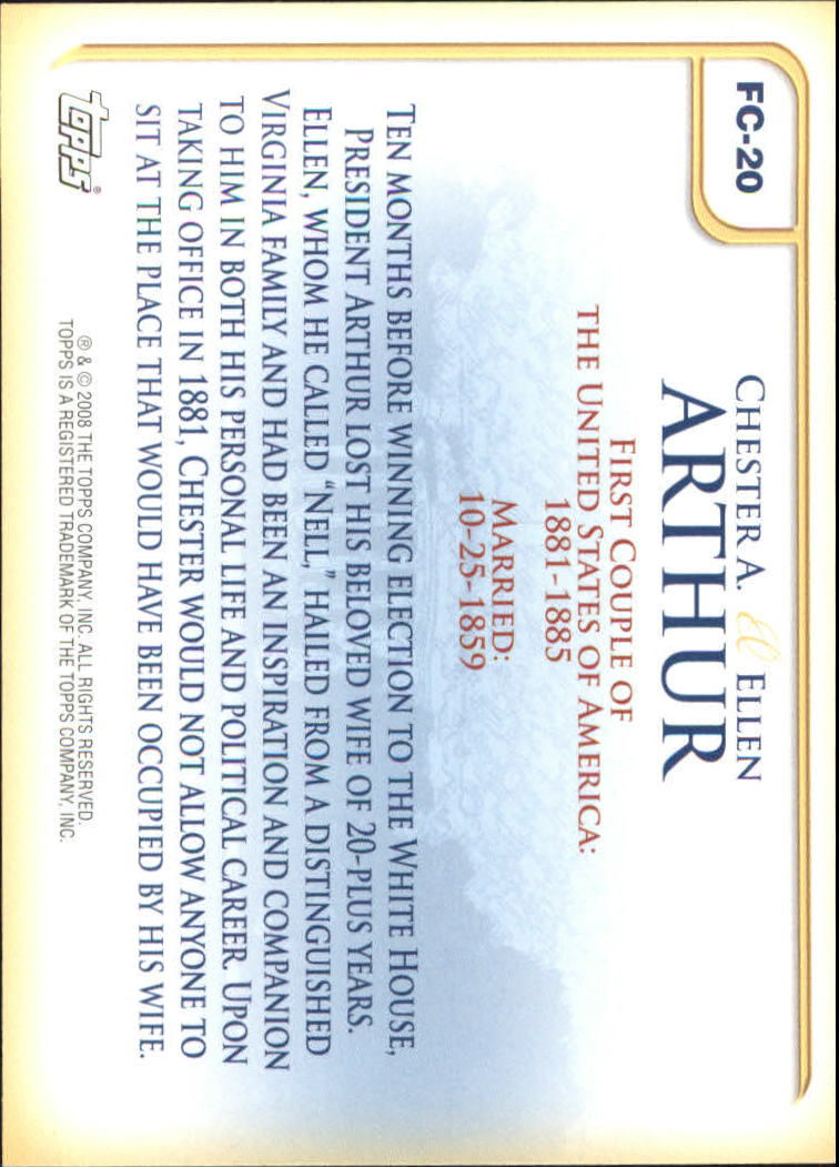 2008 Topps Update First Couples #FC20 Chester A. Arthur/Ellen Arthur back image