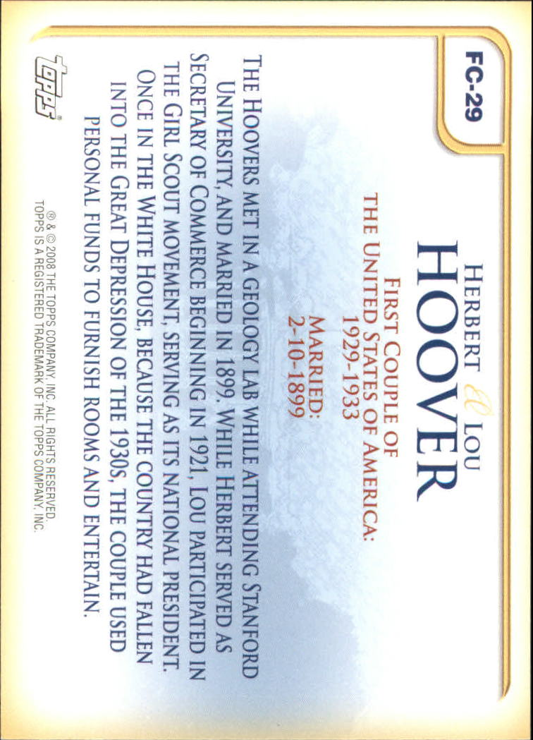 2008 Topps Update First Couples #FC29 Herbert Hoover/Lou Hoover back image