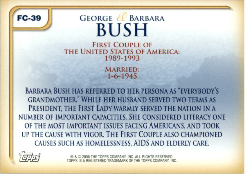 2008 Topps Update First Couples #FC39 George Bush /Barbara Bush back image