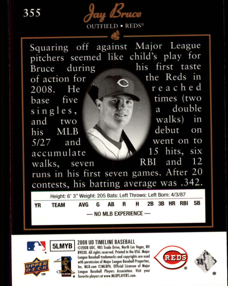 2008 Upper Deck Timeline #355 Jay Bruce 94 SP back image