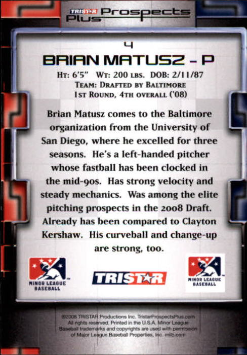 2008 TRISTAR Prospects Plus #4 Brian Matusz back image