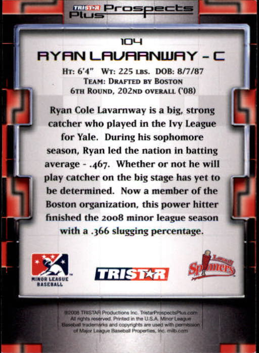 2008 TRISTAR Prospects Plus #104 Ryan Lavarnway PD back image