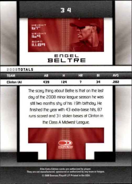 2008 Donruss Elite Extra Edition #34 Engel Beltre back image