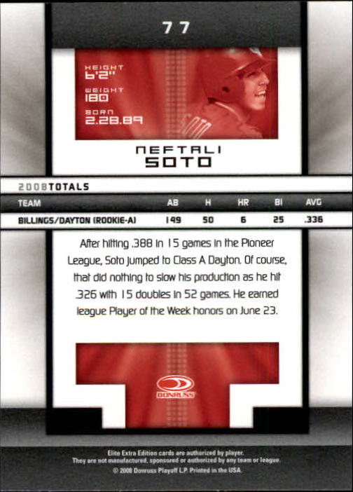 2008 Donruss Elite Extra Edition #77 Neftali Soto back image
