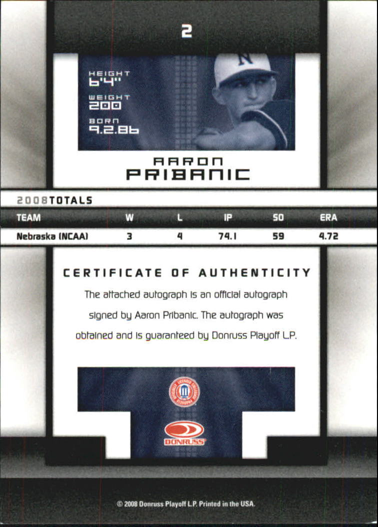 2008 Donruss Elite Extra Edition Signature Turn of the Century #2 Aaron Pribanic/269 back image