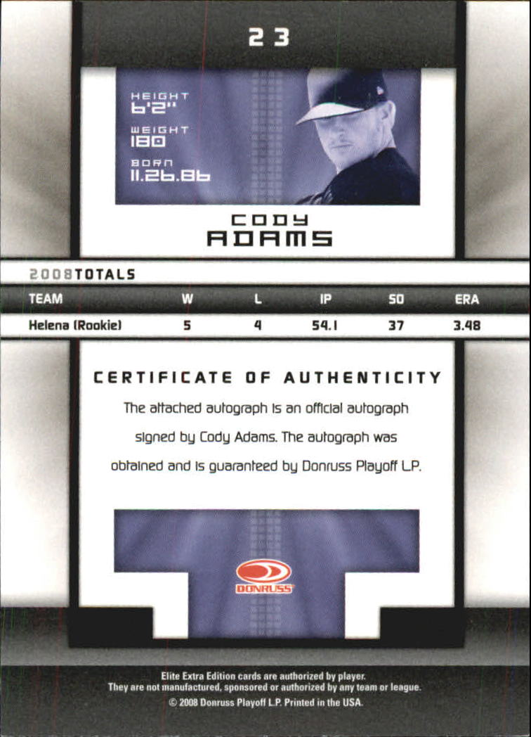 2008 Donruss Elite Extra Edition Signature Turn of the Century #23 Cody Adams/447 back image