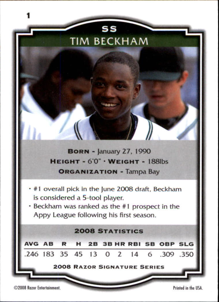 2008 Razor Signature Series #1 Tim Beckham back image