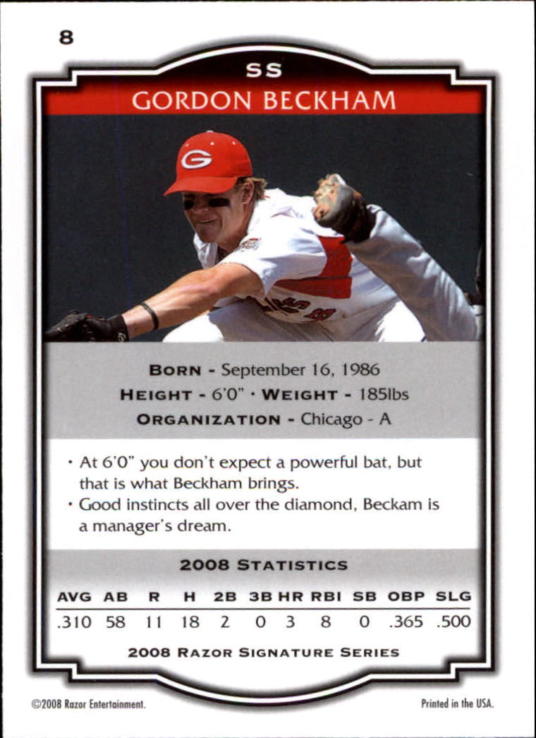 2008 Razor Signature Series #8 Gordon Beckham