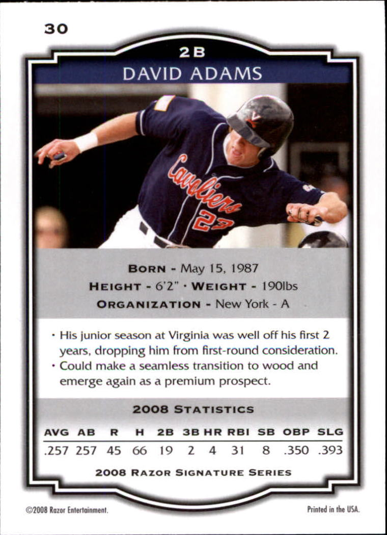 2008 Razor Signature Series #30 David Adams back image