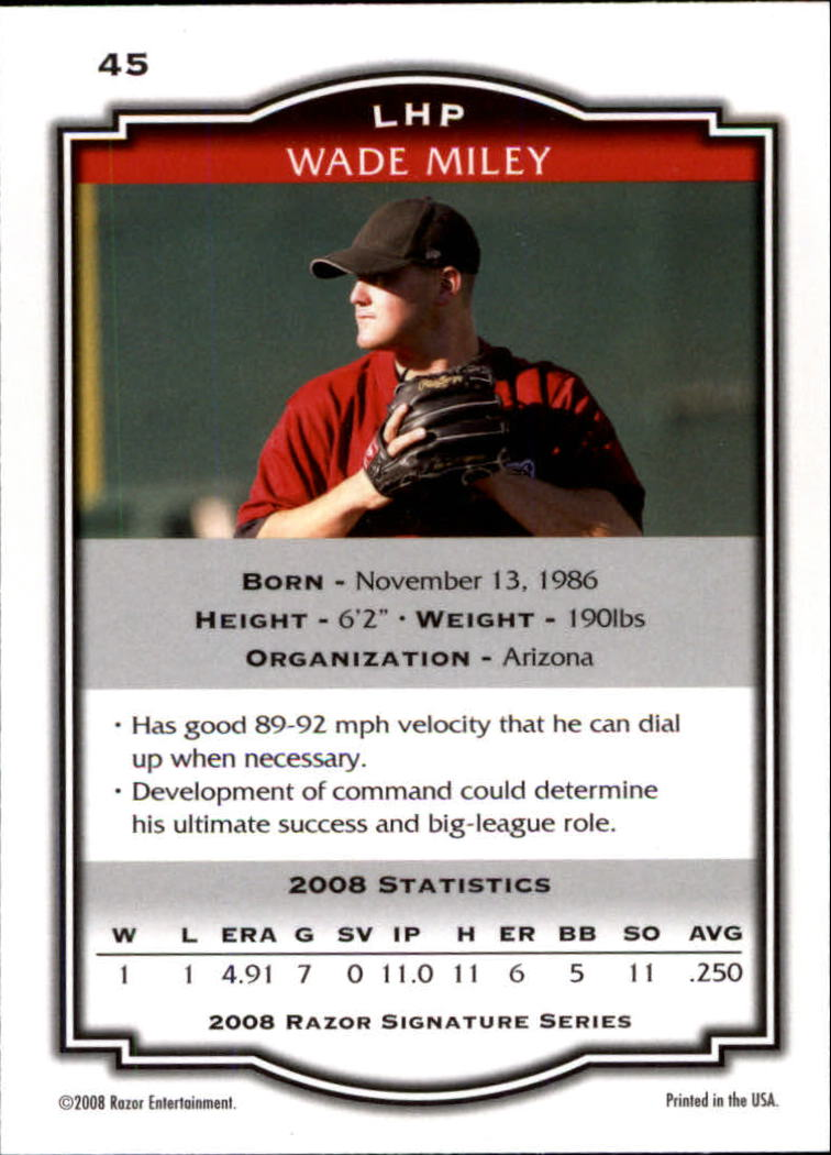 2008 Razor Signature Series #45 Wade Miley back image