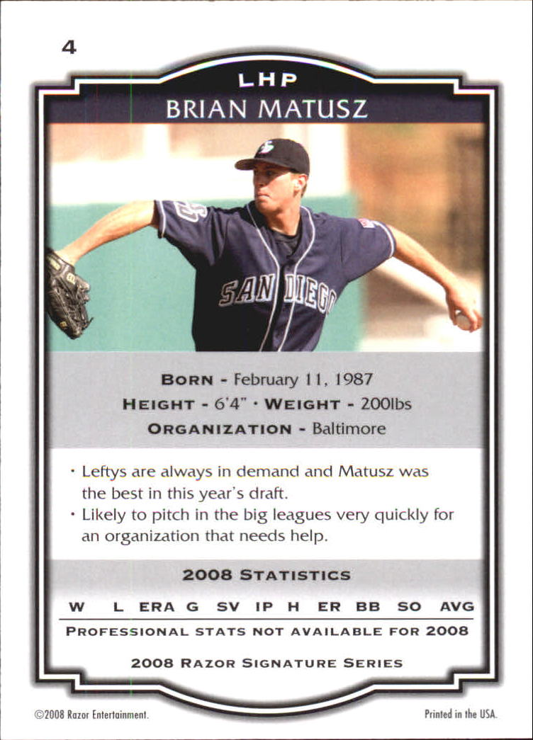 2008 Razor Signature Series Black #4 Brian Matusz back image