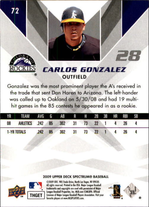2009 Upper Deck Spectrum #72 Carlos Gonzalez back image