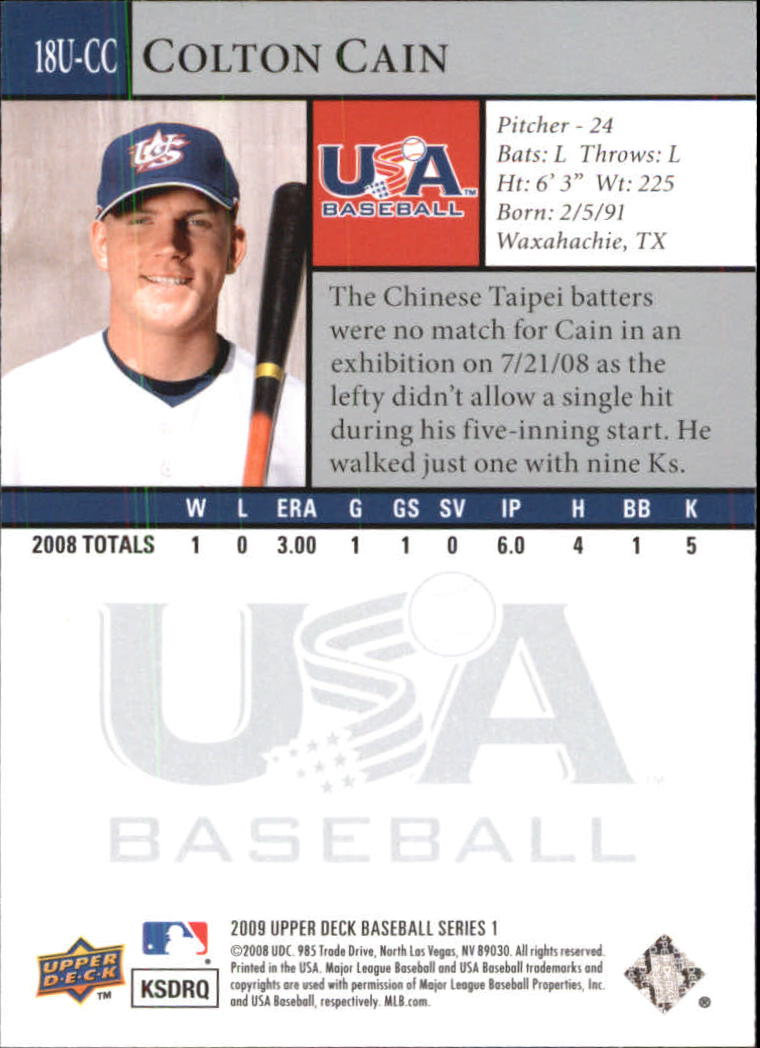 2009 Upper Deck USA 18U National Team #18UCC Colton Cain back image
