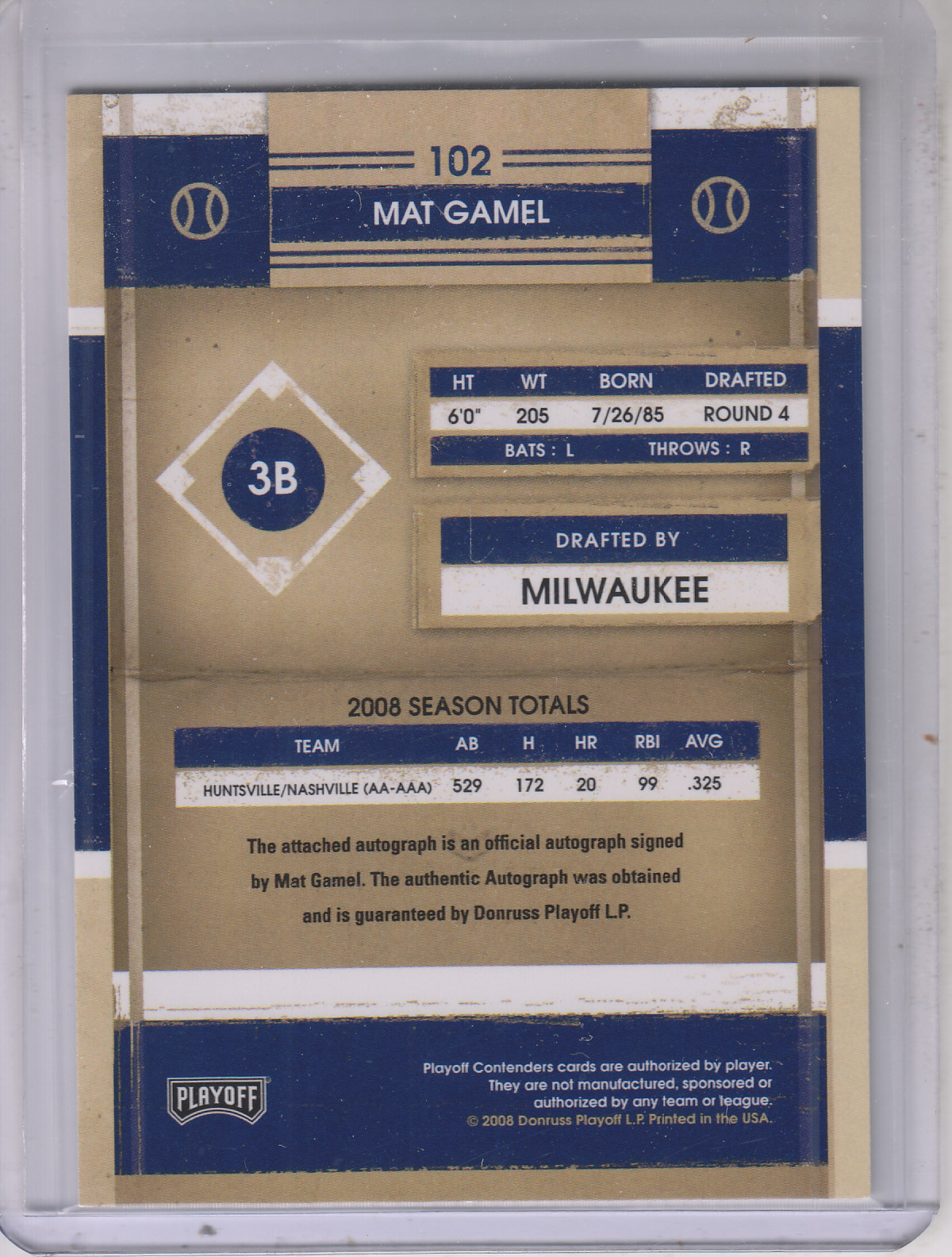 2008 Playoff Contenders #102 Mat Gamel AU back image