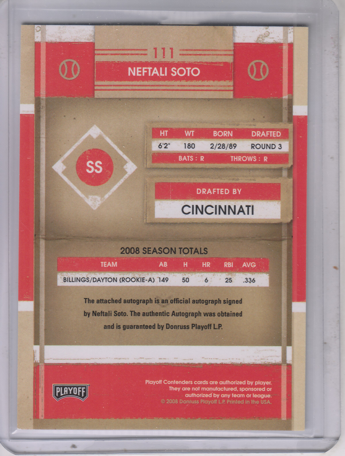 2008 Playoff Contenders #111 Neftali Soto AU/249 *