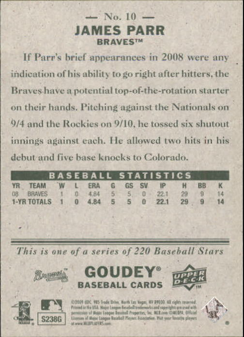 2009 Upper Deck Goudey #10 James Parr (RC) back image