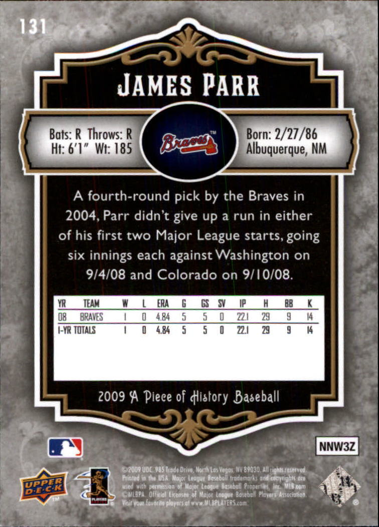 2009 UD A Piece of History #131 James Parr (RC) back image