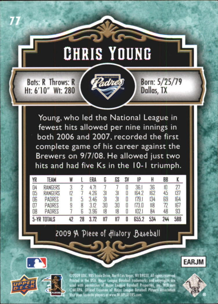 2009 UD A Piece of History Green #77 Chris Young