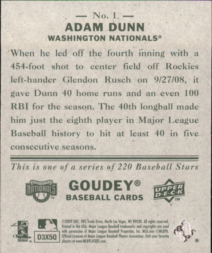 2009 Upper Deck Goudey Mini Green Back #1 Adam Dunn back image