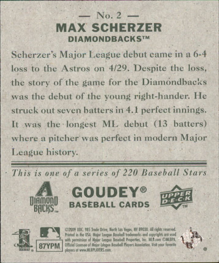2009 Upper Deck Goudey Mini Green Back #2 Max Scherzer back image