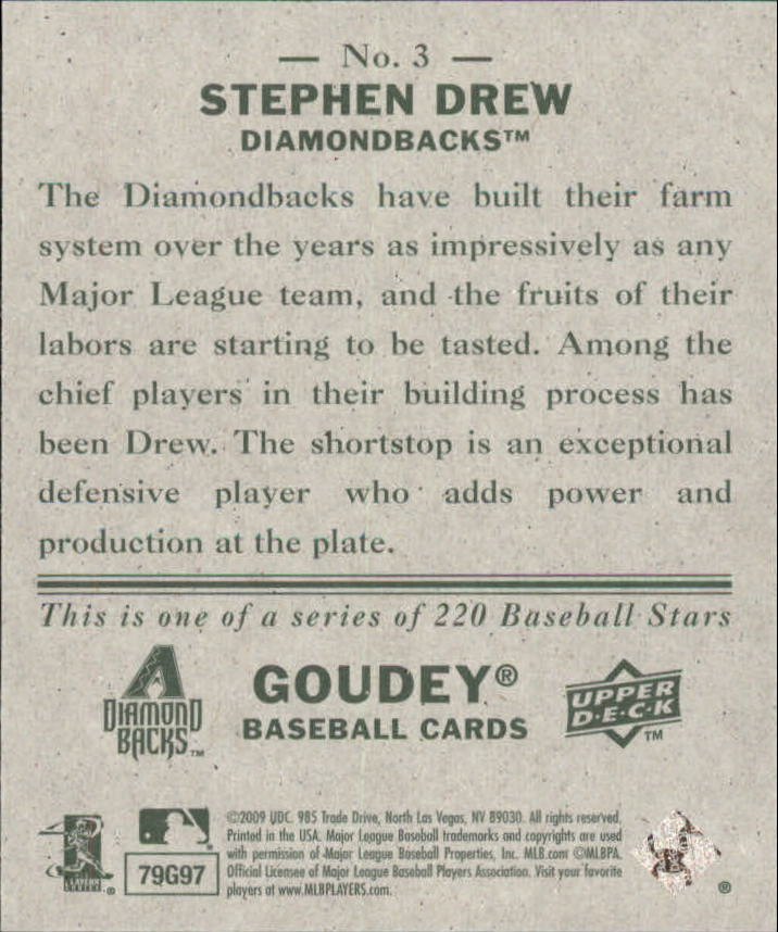2009 Upper Deck Goudey Mini Green Back #3 Stephen Drew back image