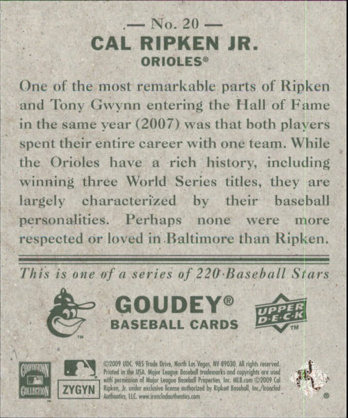 2009 Upper Deck Goudey Mini Green Back #20 Cal Ripken Jr. back image