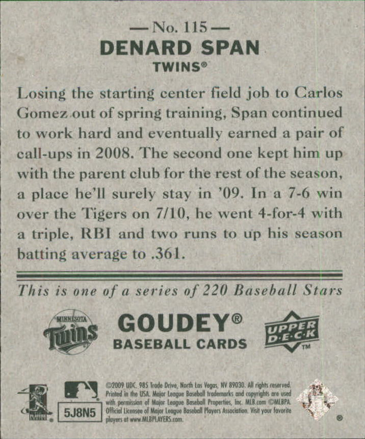 2009 Upper Deck Goudey Mini Green Back #115 Denard Span