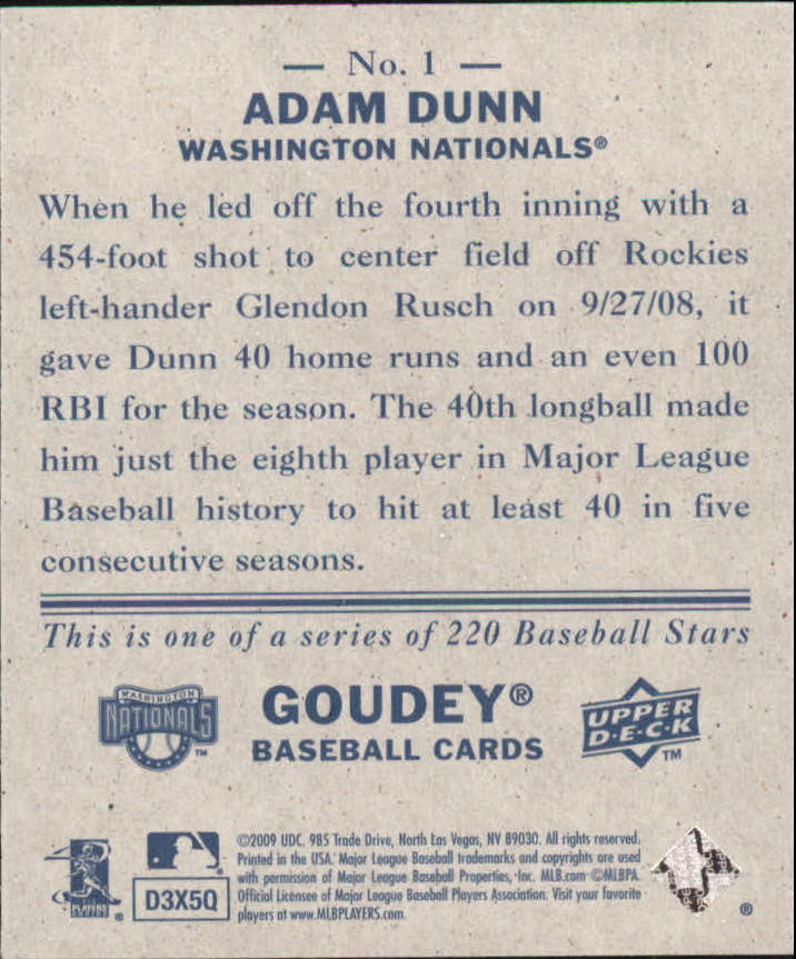 2009 Upper Deck Goudey Mini Navy Blue Back #1 Adam Dunn back image