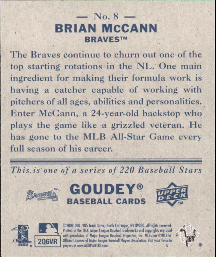 2009 Upper Deck Goudey Mini Navy Blue Back #8 Brian McCann back image