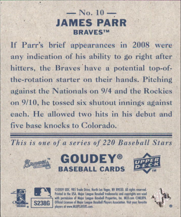 2009 Upper Deck Goudey Mini Navy Blue Back #10 James Parr