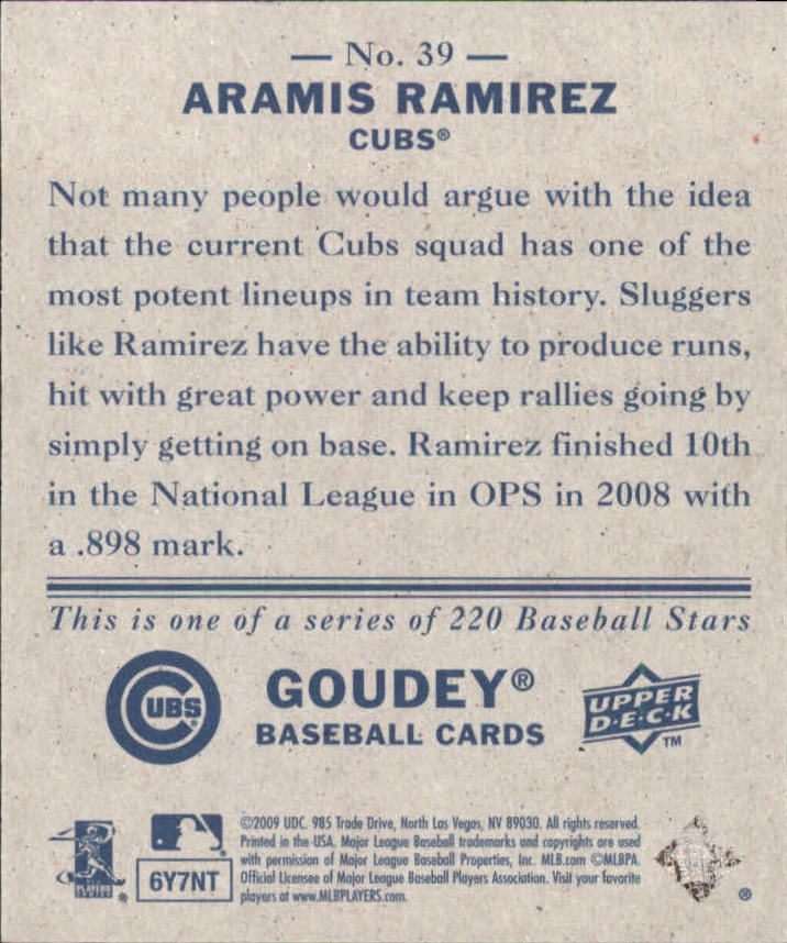 2009 Upper Deck Goudey Mini Navy Blue Back #39 Aramis Ramirez back image