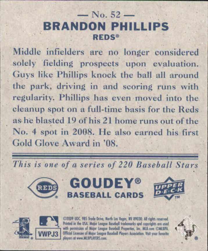 2009 Upper Deck Goudey Mini Navy Blue Back #52 Brandon Phillips back image
