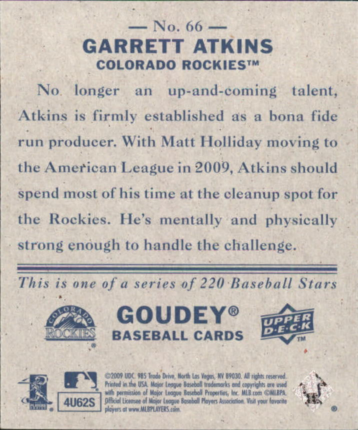 2009 Upper Deck Goudey Mini Navy Blue Back #66 Garrett Atkins back image