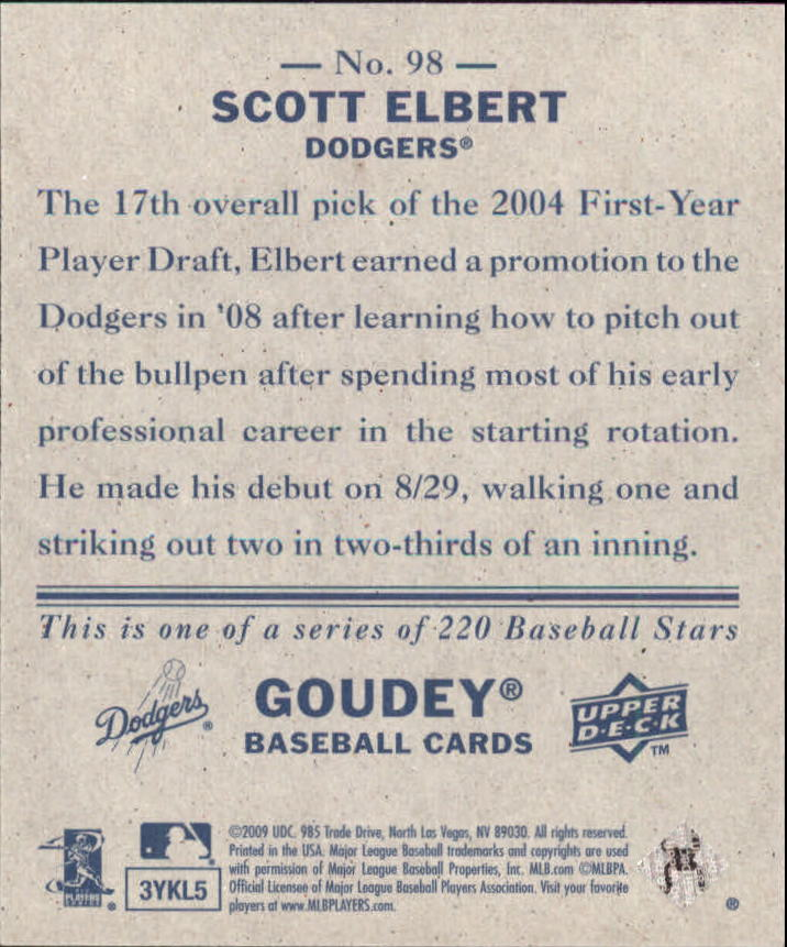 2009 Upper Deck Goudey Mini Navy Blue Back #98 Scott Elbert