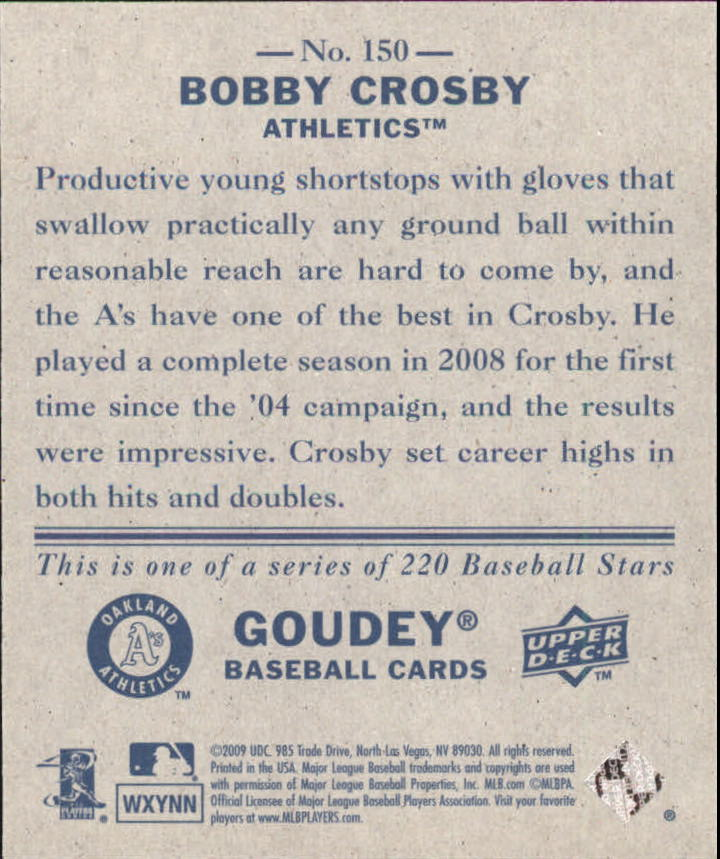 2009 Upper Deck Goudey Mini Navy Blue Back #150 Bobby Crosby back image