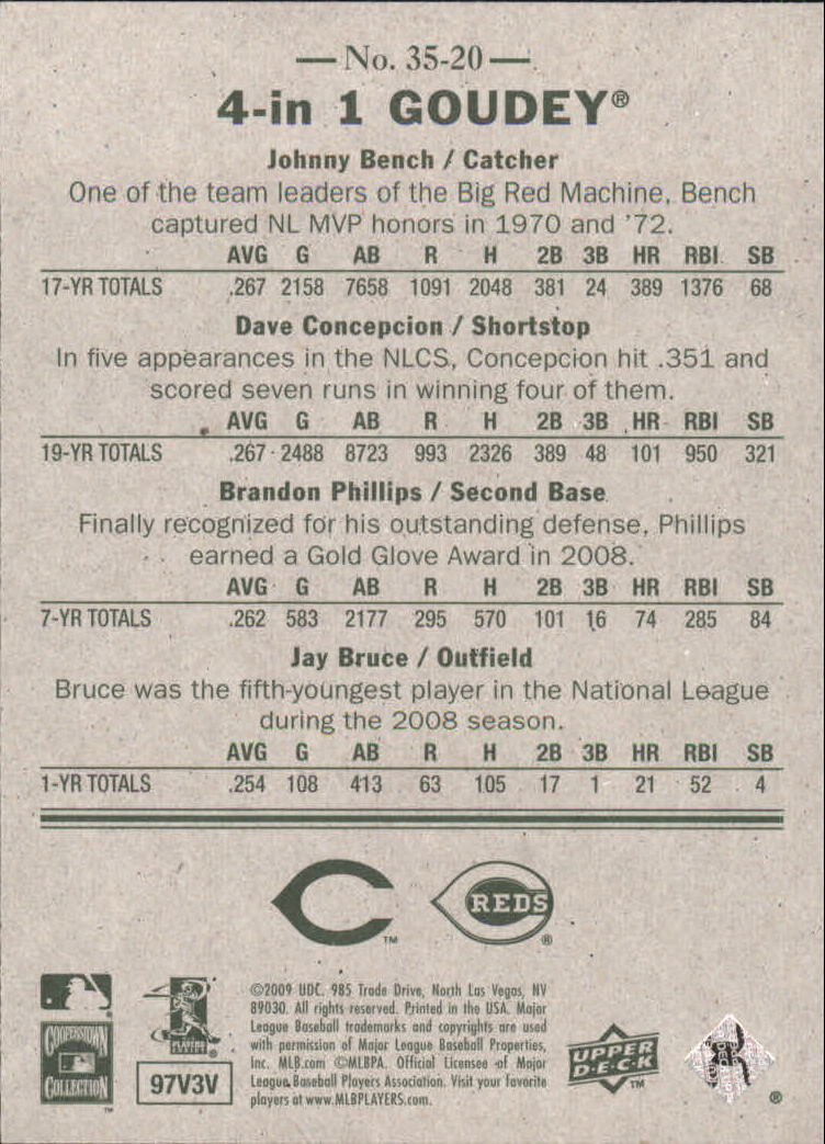 2009 Upper Deck Goudey 4-In-1 #20 Johnny Bench/Dave Concepcion/Brandon Phillips/Jay Bruce back image
