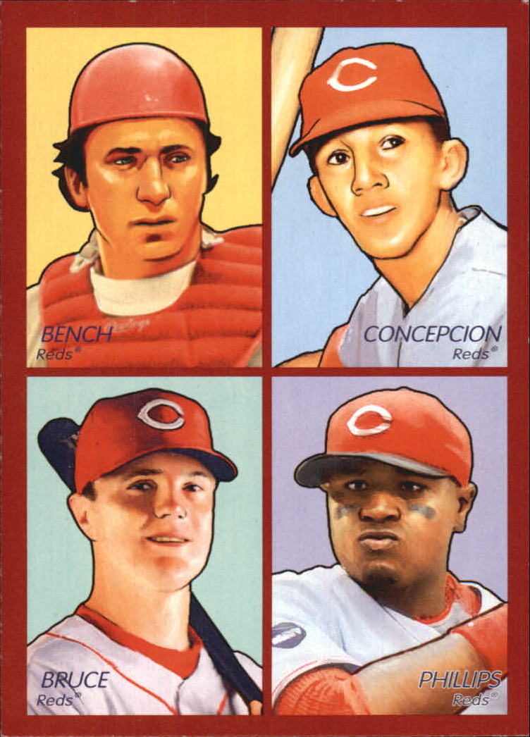 2009 Upper Deck Goudey 4-In-1 #20 Johnny Bench/Dave Concepcion/Brandon Phillips/Jay Bruce
