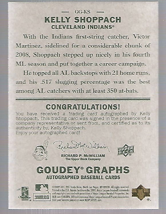 2009 Upper Deck Goudey Autographs #GGKS Kelly Shoppach back image