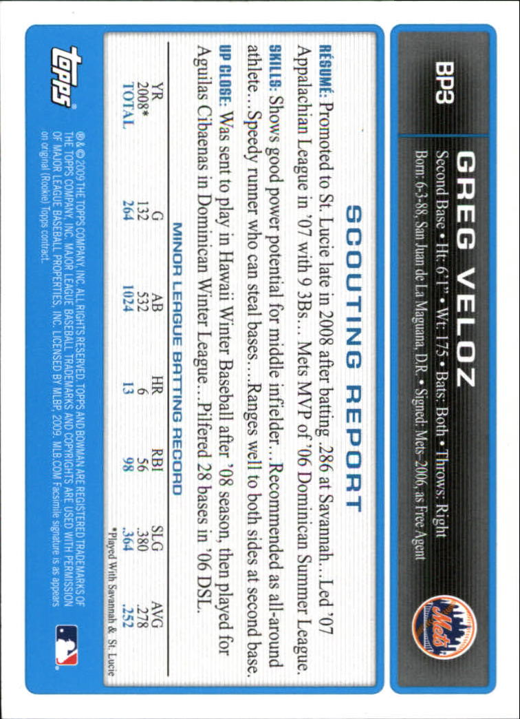 2009 Bowman Prospects #BP3 Greg Veloz back image