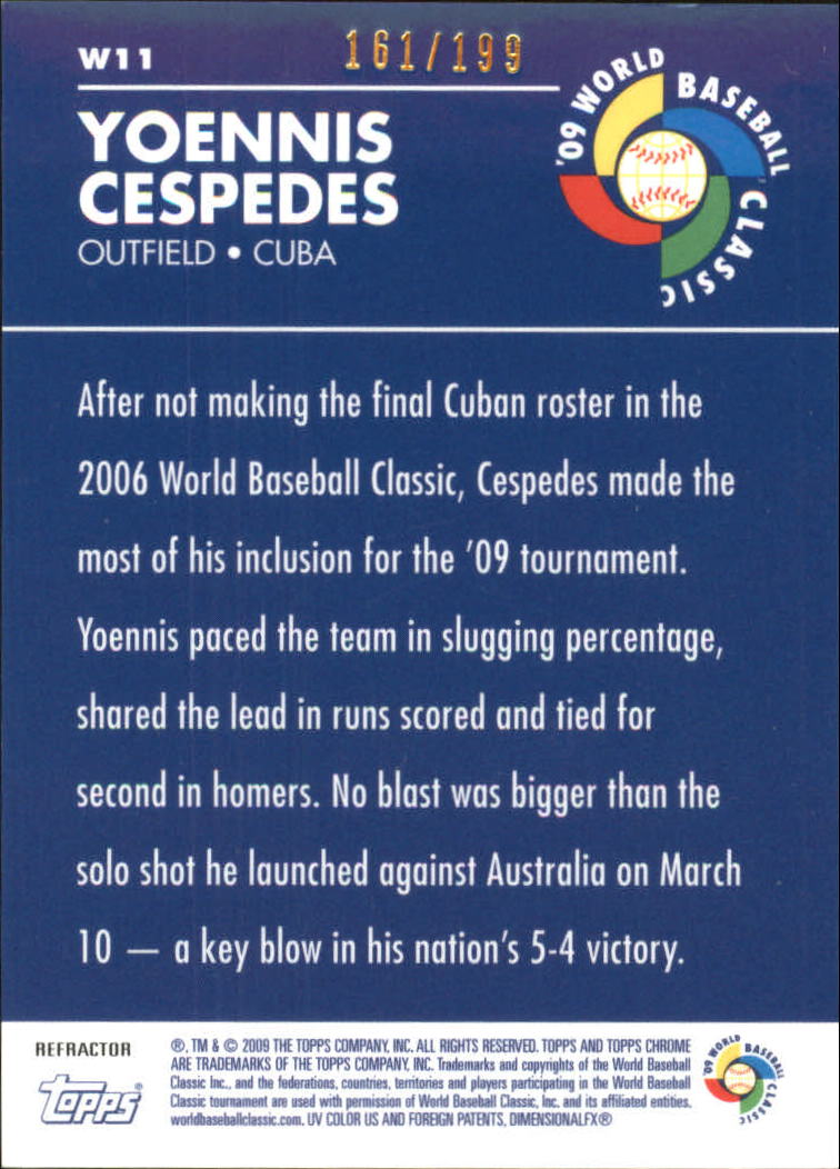 2009 Topps Chrome World Baseball Classic Blue Refractors #W11 Yoennis Cespedes back image