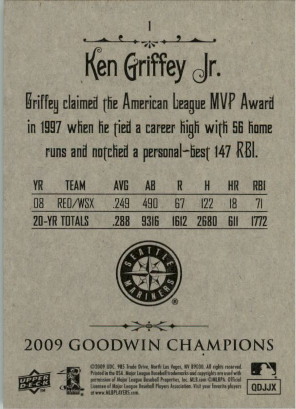 2009 Upper Deck Goodwin Champions #1a Ken Griffey Jr. Day back image
